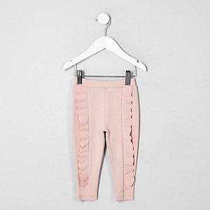 Mini girls pink ruffle ponte leggings