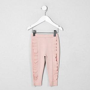 Mini - Roze legging van ponte-stof met ruches voor meisjes
