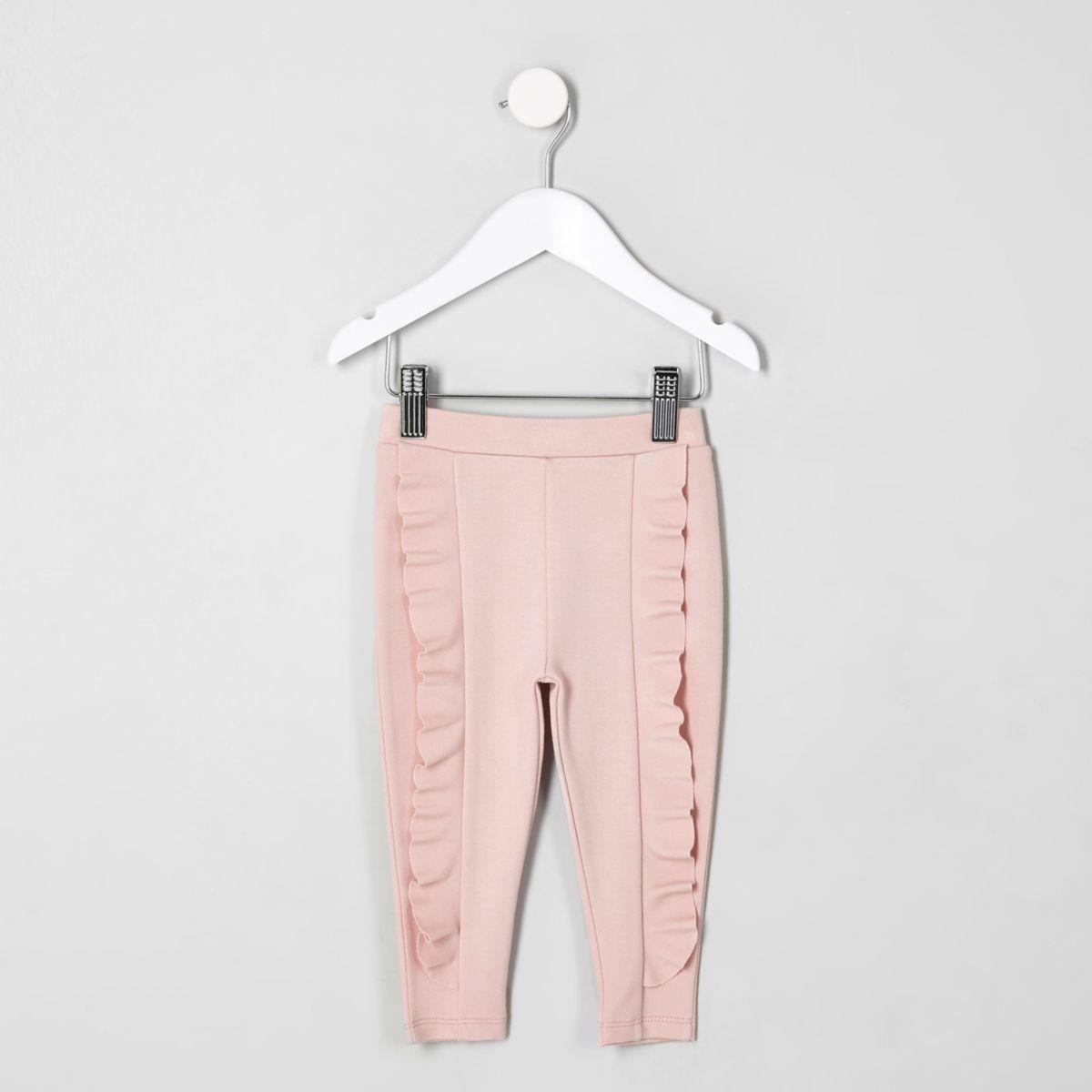 Mini girls pink ruffle ponte leggings