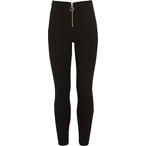 Girls black Molly zip front jeggings
