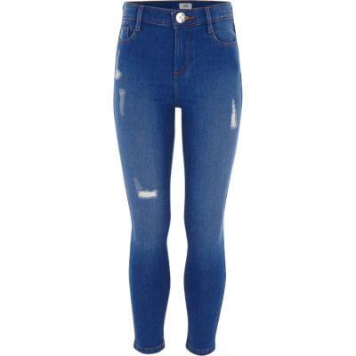 Girls Blue Ripped Amelie Jean by River Island