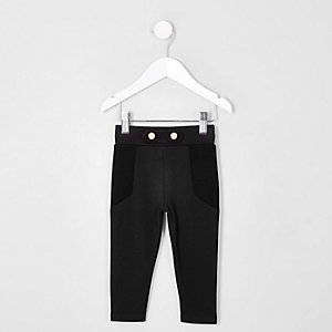 Mini - Zwarte skinny legging van ponte-stof voor meisjes