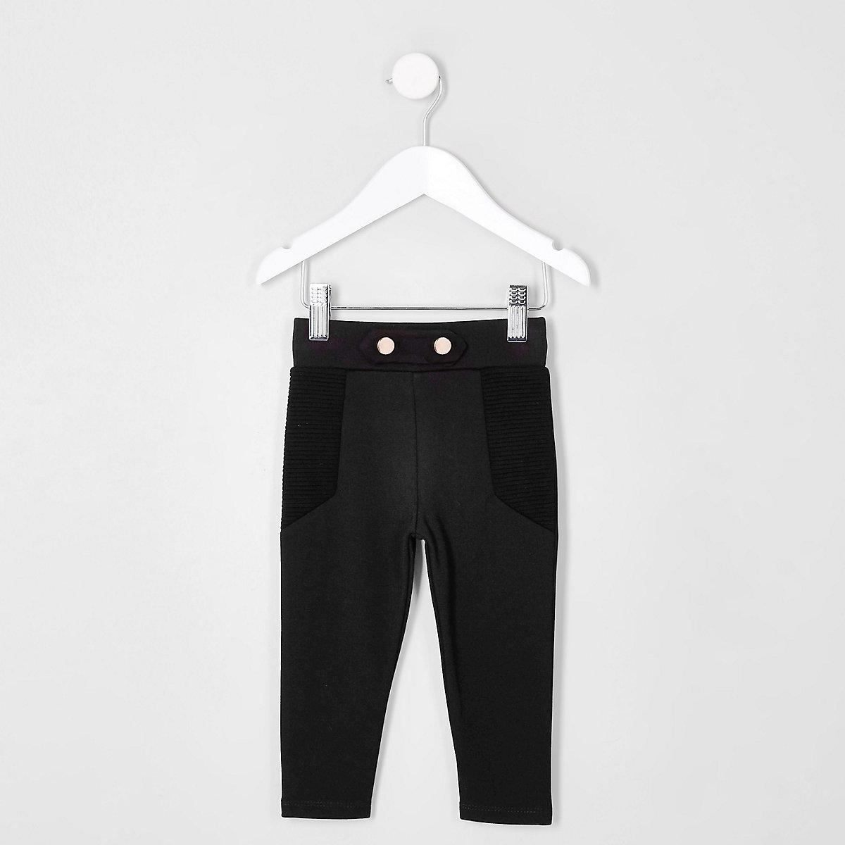 Mini girls black skinny ponte leggings