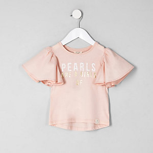 Mini girls pink 'pearls' frill sleeve T-shirt