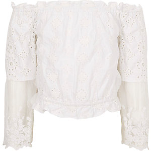 Girls white cream lace bardot top