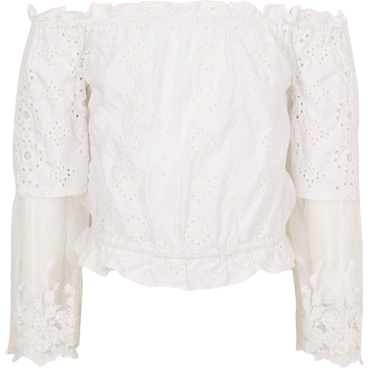 Girls white cream lace bardot top