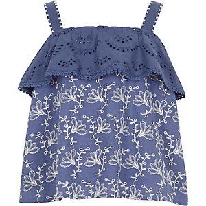 Caraco bleu orné de volants à perles pour fille