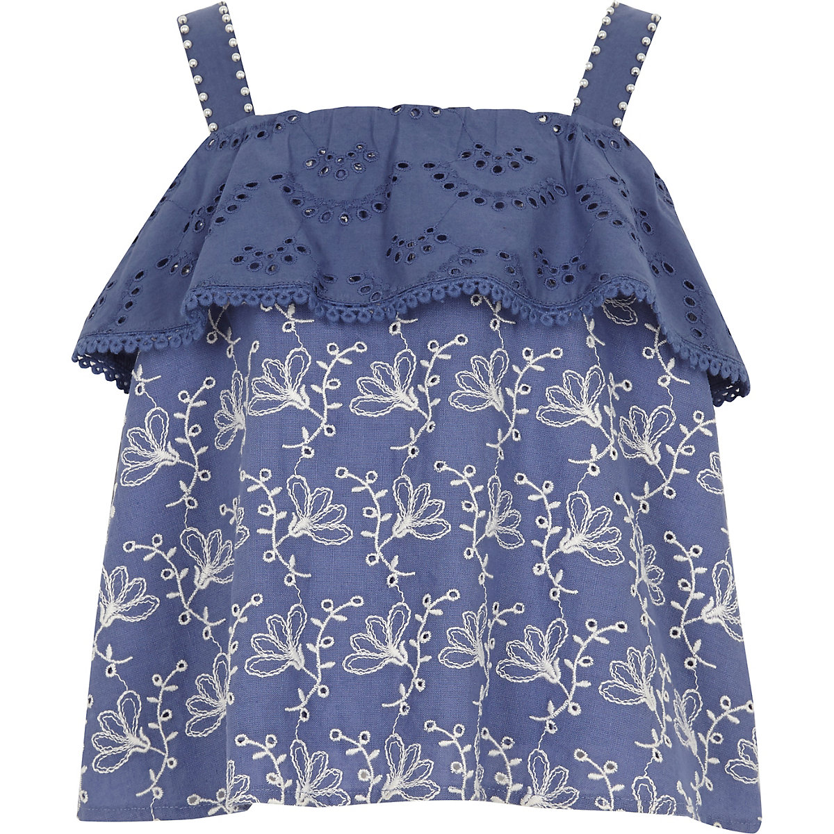 Girls blue pearl tiered frill cami top