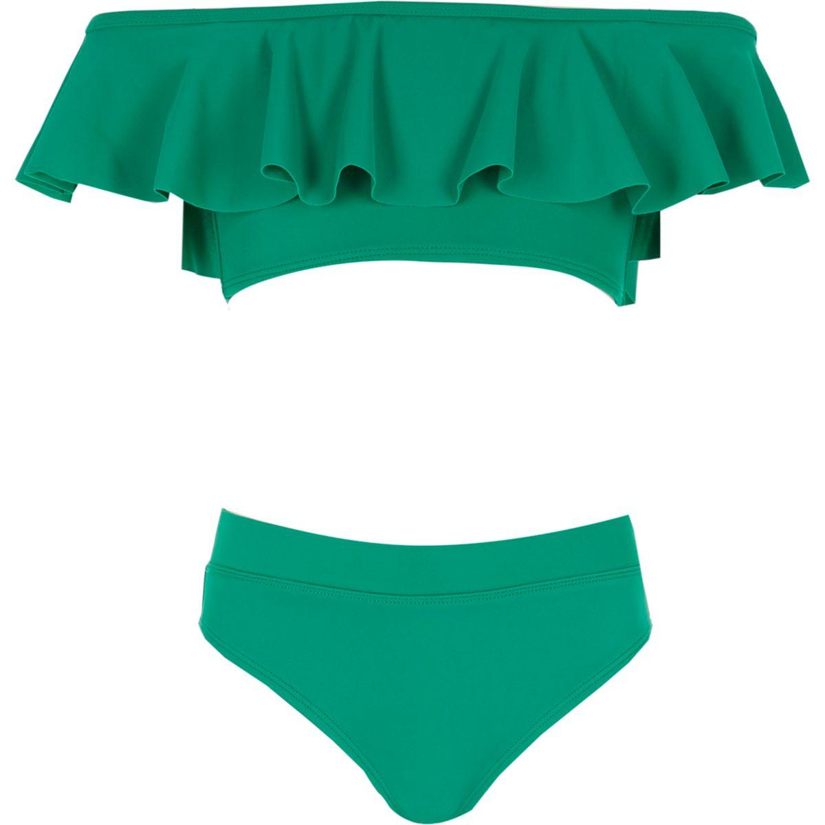 Grüner Bardot-Bikini mit Rüschen