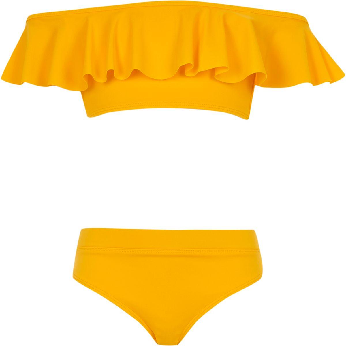 Tankini Bardot orange à volants pour fille