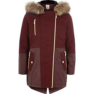 Girls red faux fur trim parka jacket