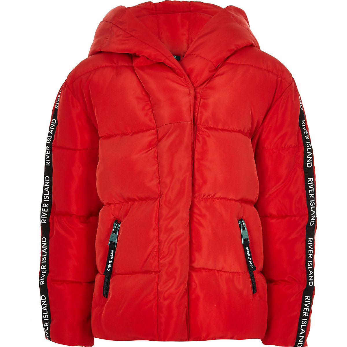Girls red RI tape hooded puffer jacket