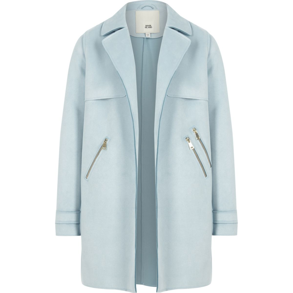 Light blue faux suede trench coat