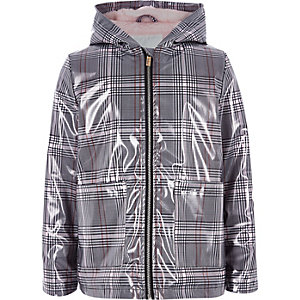 Girls black check rain coat
