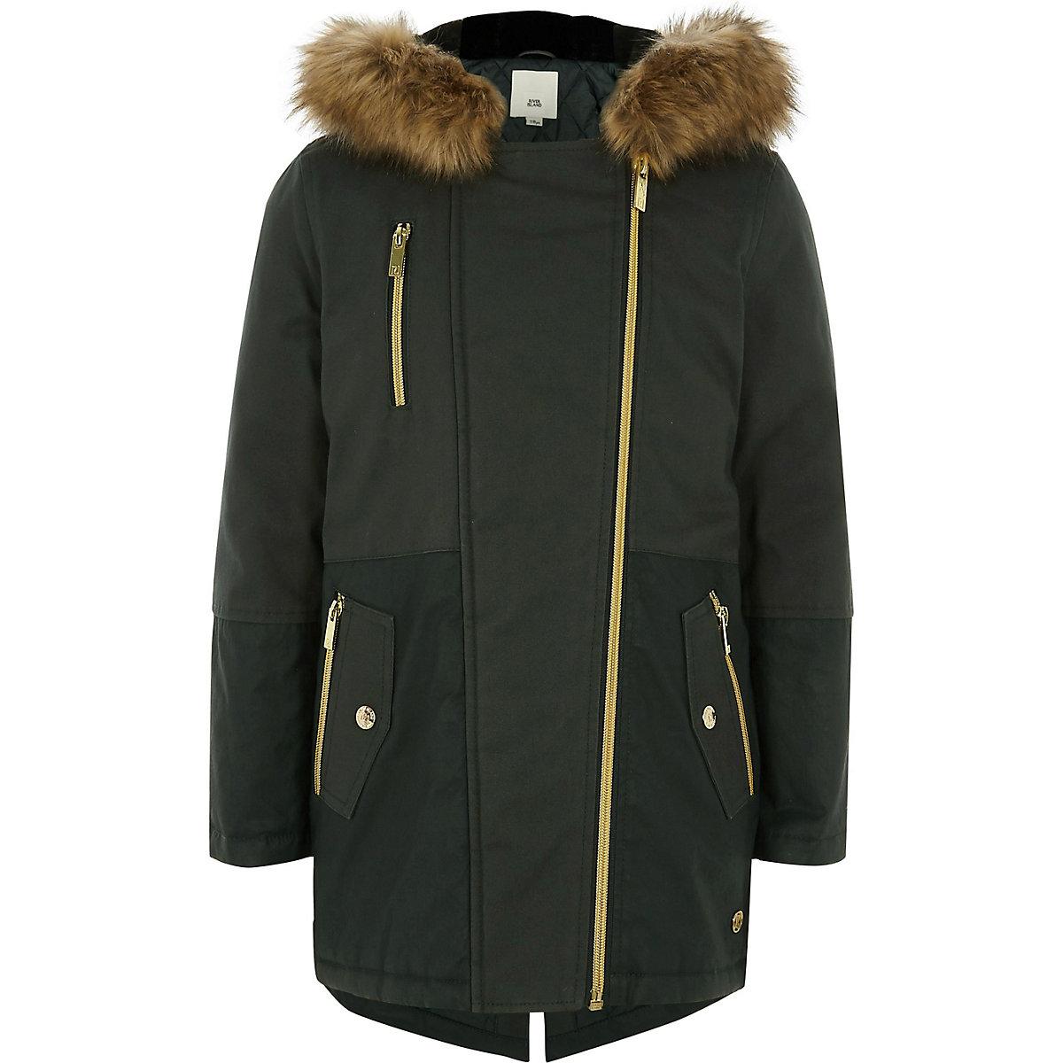 Girls khaki faux fur trim parka jacket