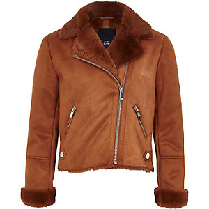 Girls light brown faux fur biker jacket