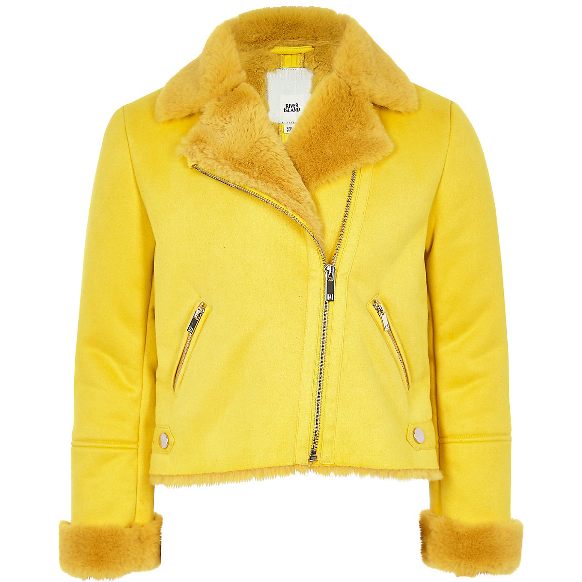 Girls yellow faux fur biker jacket
