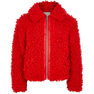 Girls red faux fur zip up jacket