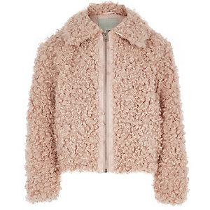 Veste rose avec fausse fourrure zippée pour fille