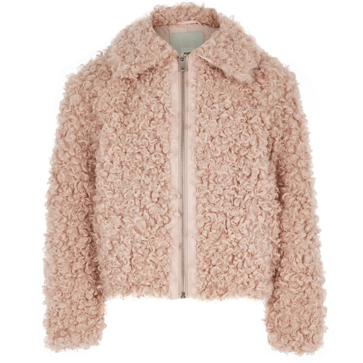 Girls pink faux fur zip up jacket