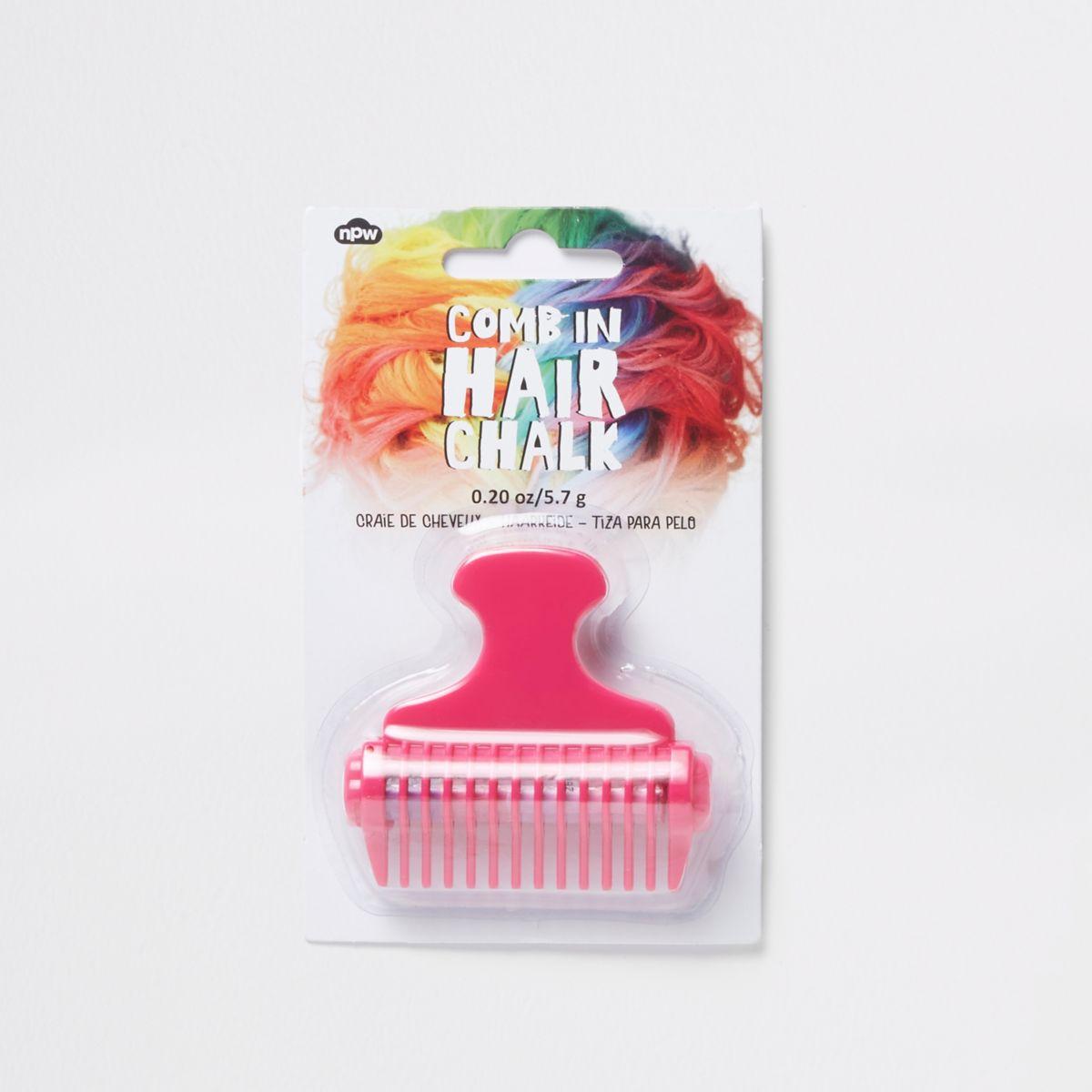Craie pour cheveux rose à appliquer au peigne pour fille
