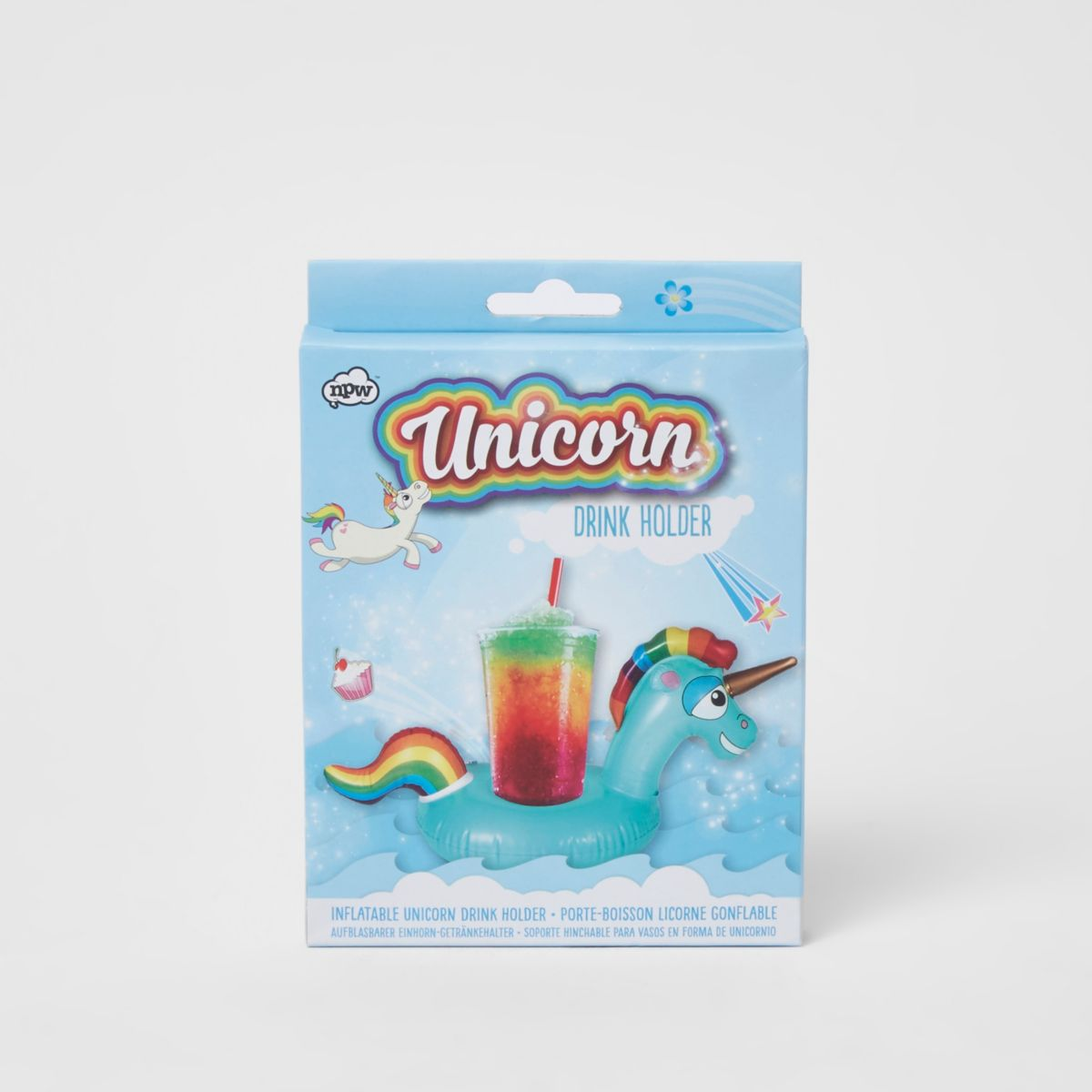 Girls blue inflatable unicorn drinks holder