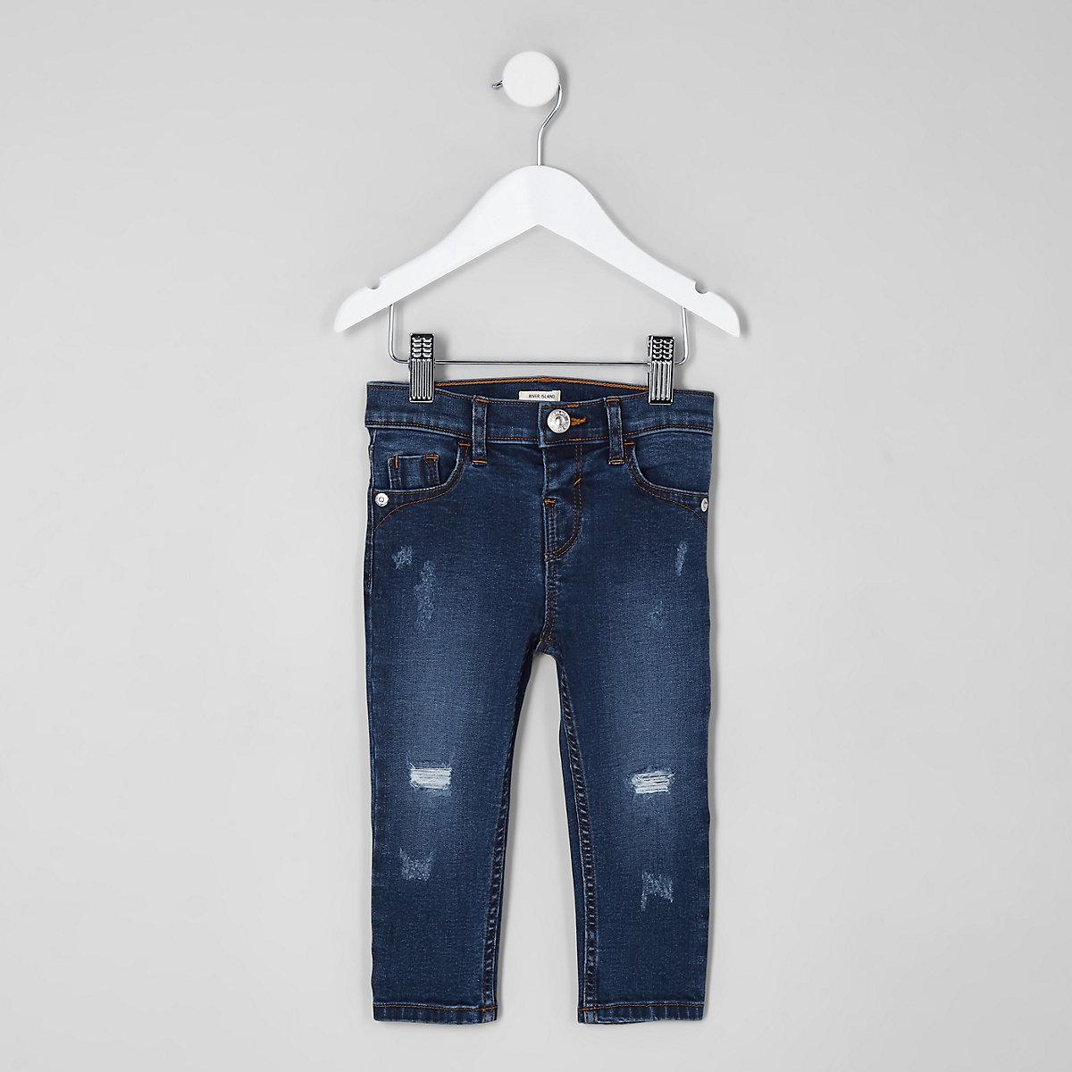 Mini girls blue Amelie distressed skinny jean