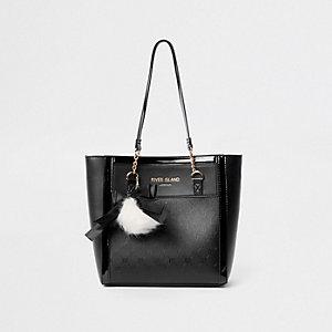 Schwarze Shopper-Tasche mit RI-Monogramm