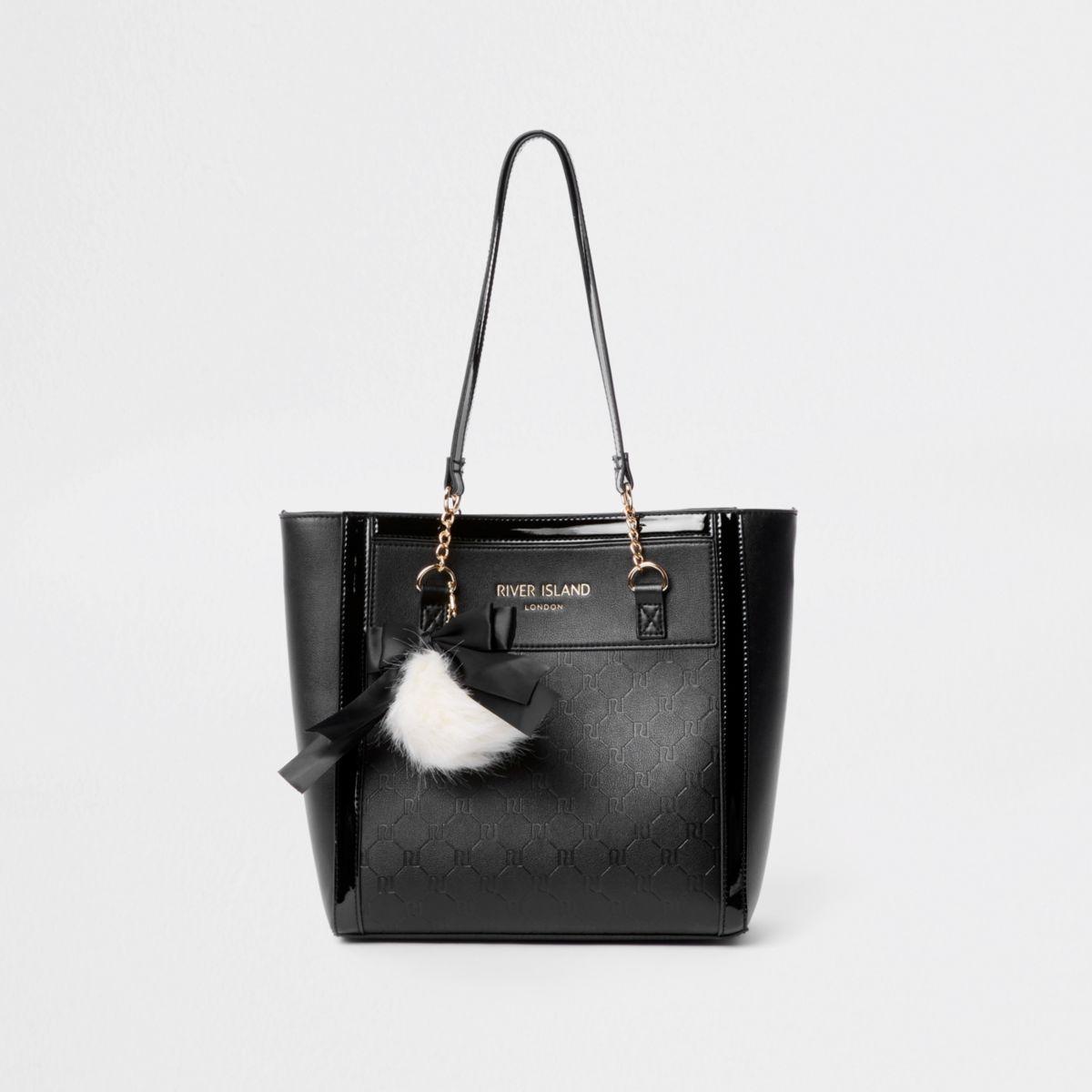 Girls black RI monogram shopper bag