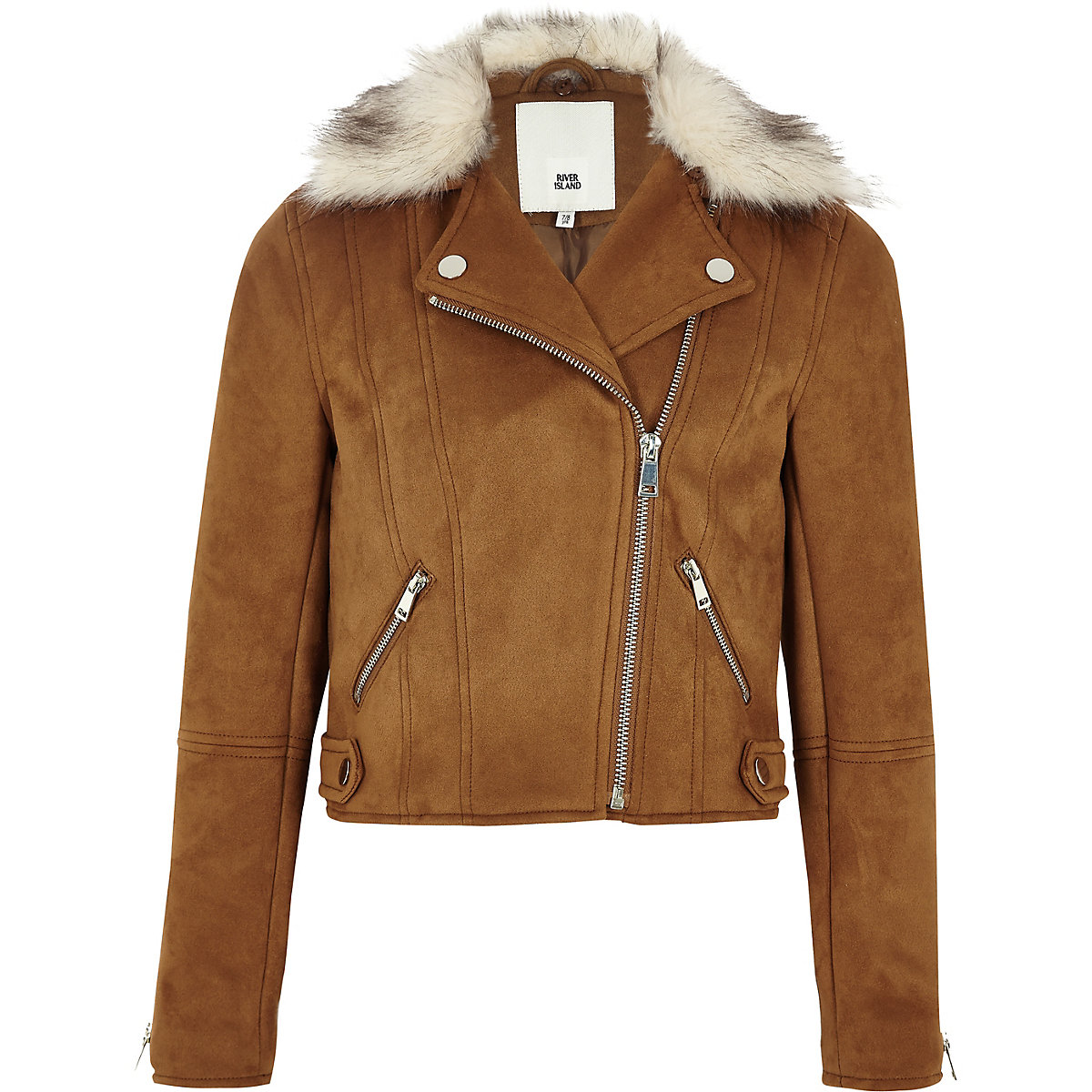 Girls brown faux suede fur biker jacket