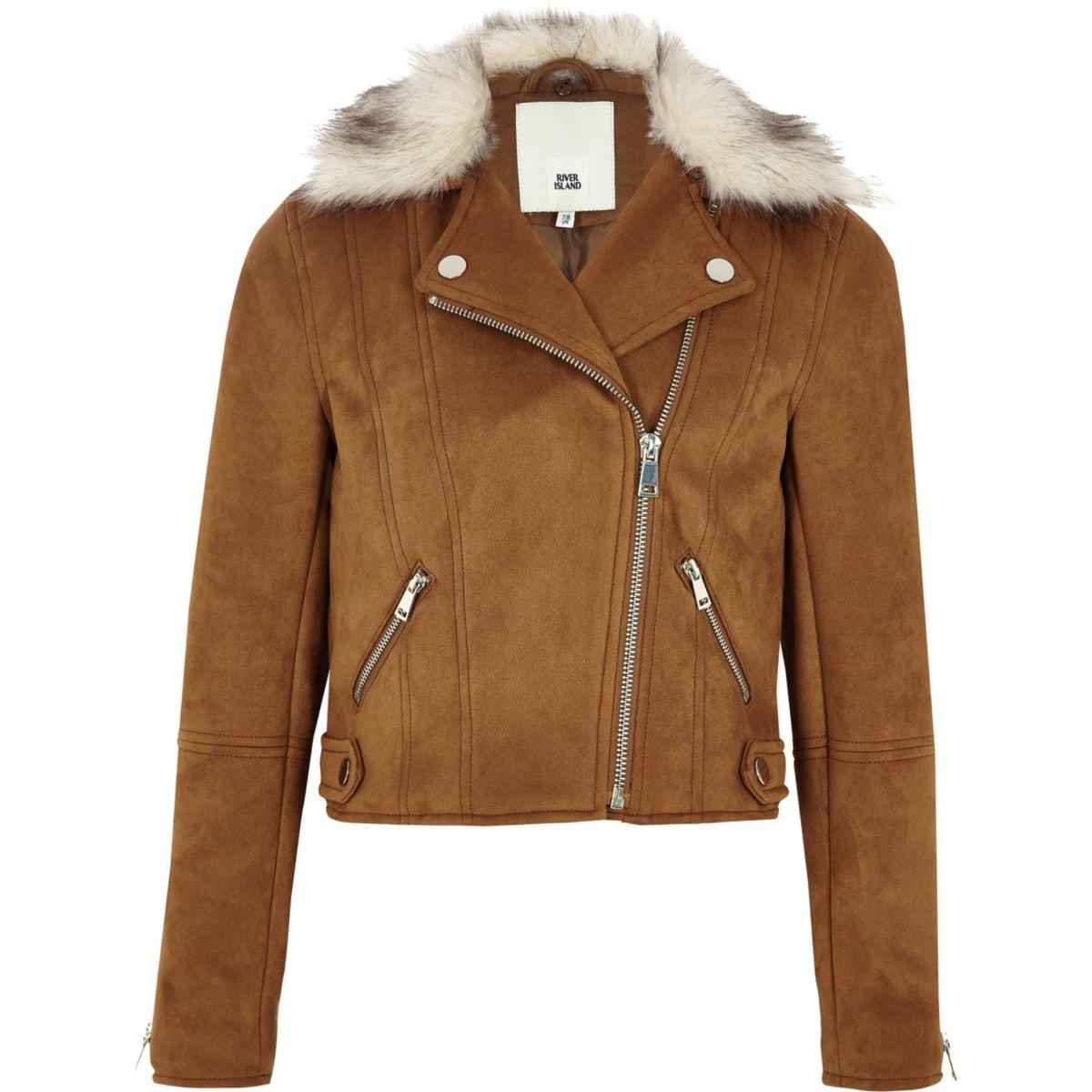 Girls brown faux suede fur biker jacket