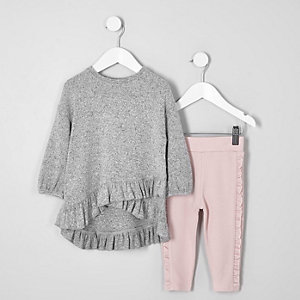 Ensemble legging et top gris à volants mini fille