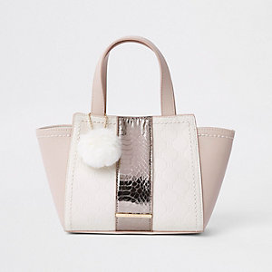 Girls pink 'RI' print winged pom pom tote bag