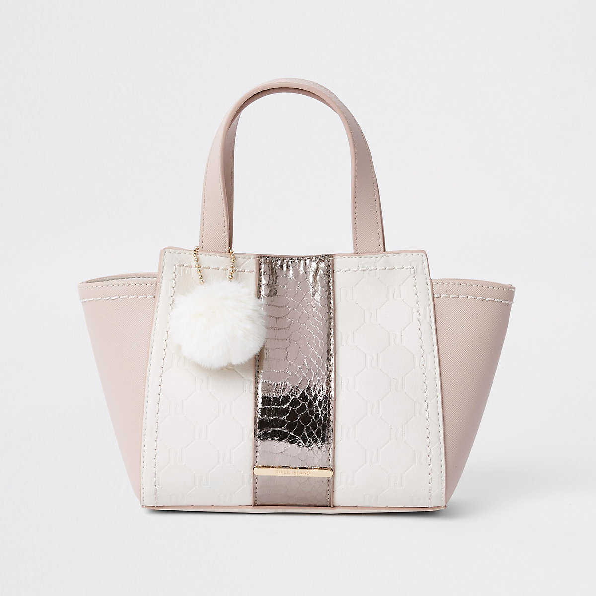 Girls pink 'RI' print winged pom pom tote bag