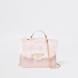 Girls faux fur cross body satchel bag