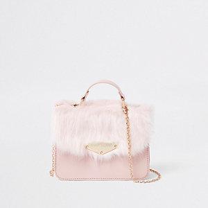 Crossbody-satchel met imitatiebont voor meisjes