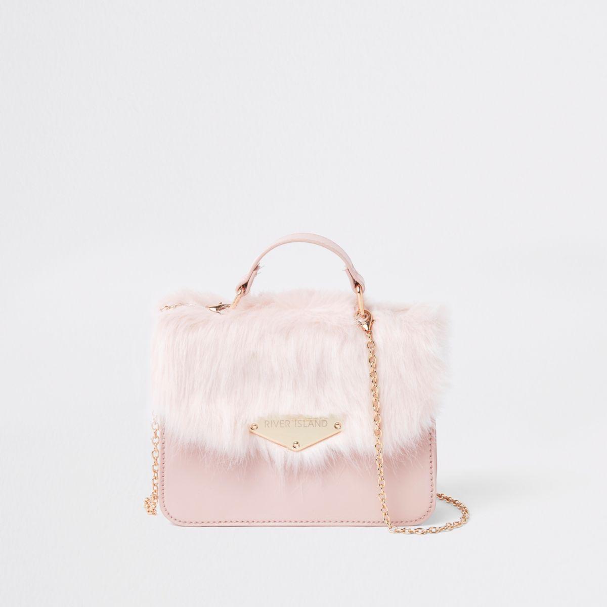 Girls faux fur cross body satchel bag
