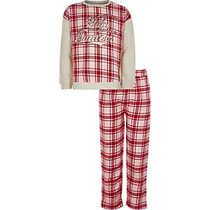 Girls red 'wake me up' check pyjama set
