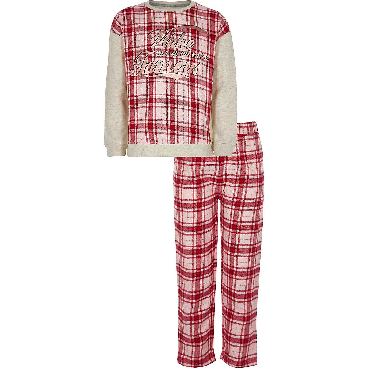 Girls red 'wake me up' check pyjama set