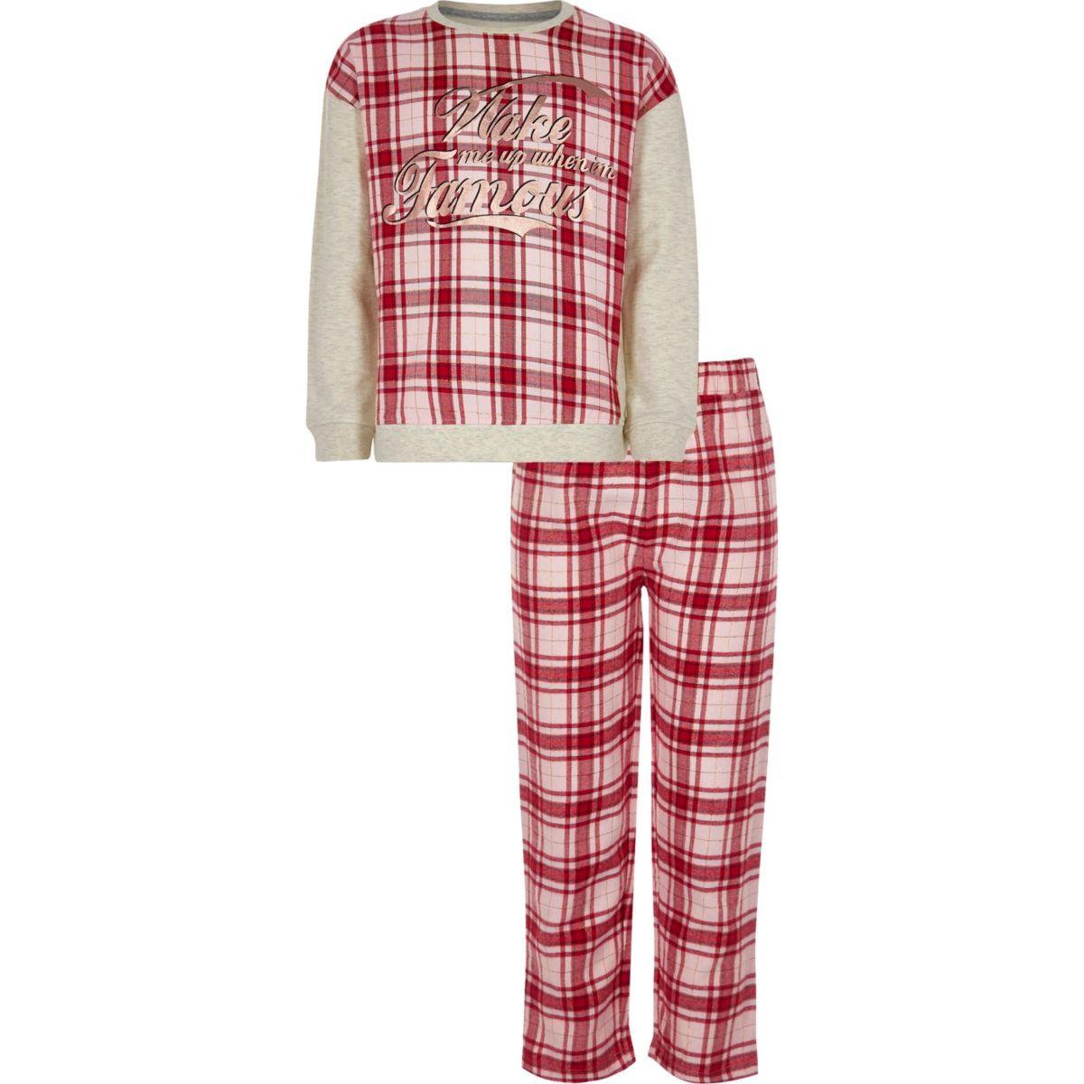 Girls red 'wake me up' check pajama set