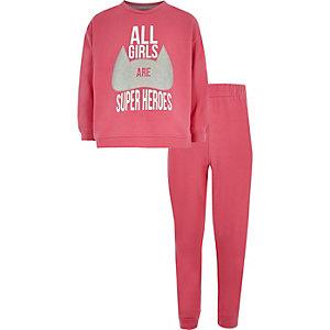 Roze pyjamaset met 'superheroes'-print voor meisjes