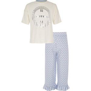 Ensemble avec t-shirt «couture» blanc pour fille