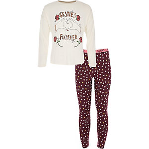 Girls red 'Besties forever' pajama set