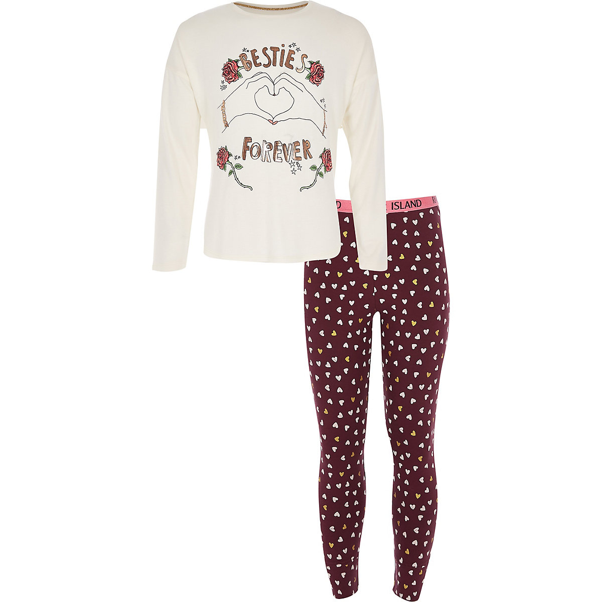 Girls red 'Besties forever' pajama set