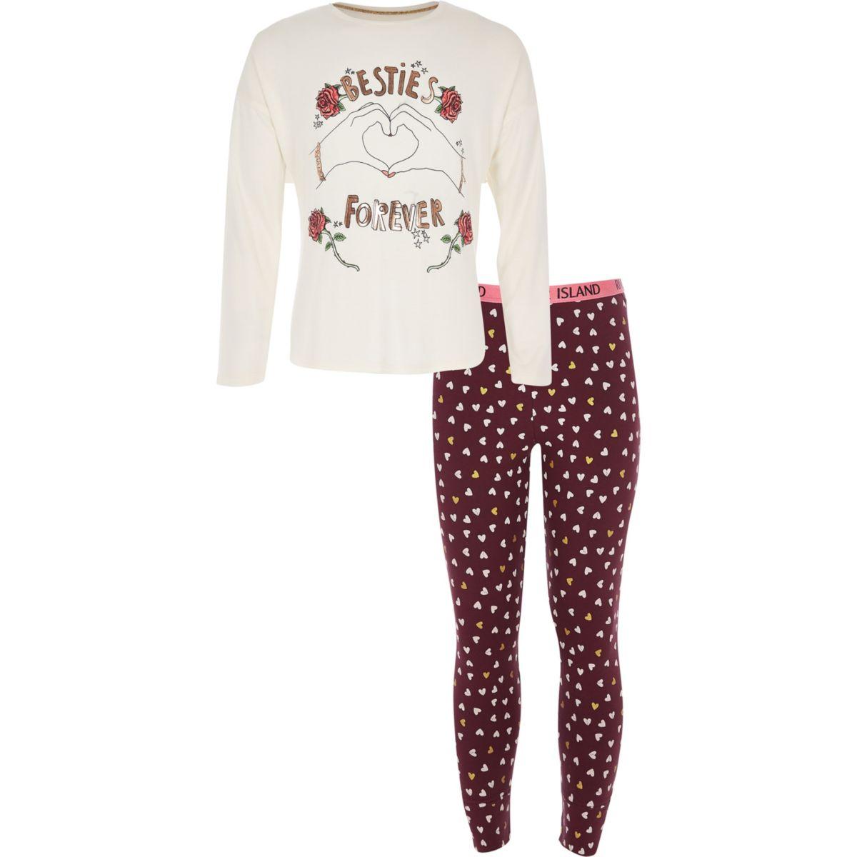 Girls red 'Besties forever' pyjama set