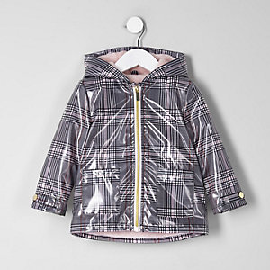 Mini girls black check rain coat