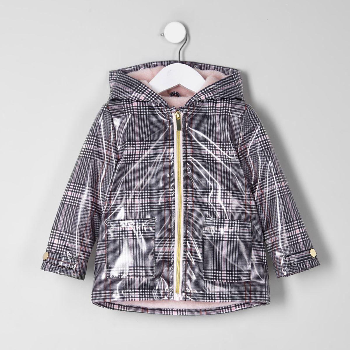 Mini girls black check rain coat
