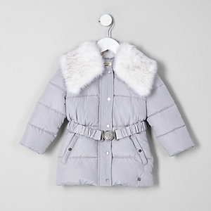 Mini girls grey faux fur collar belted coat