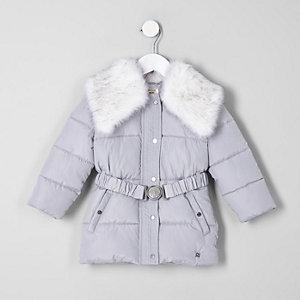 Manteau gris à ceinture avec col en fausse fourrure mini fille