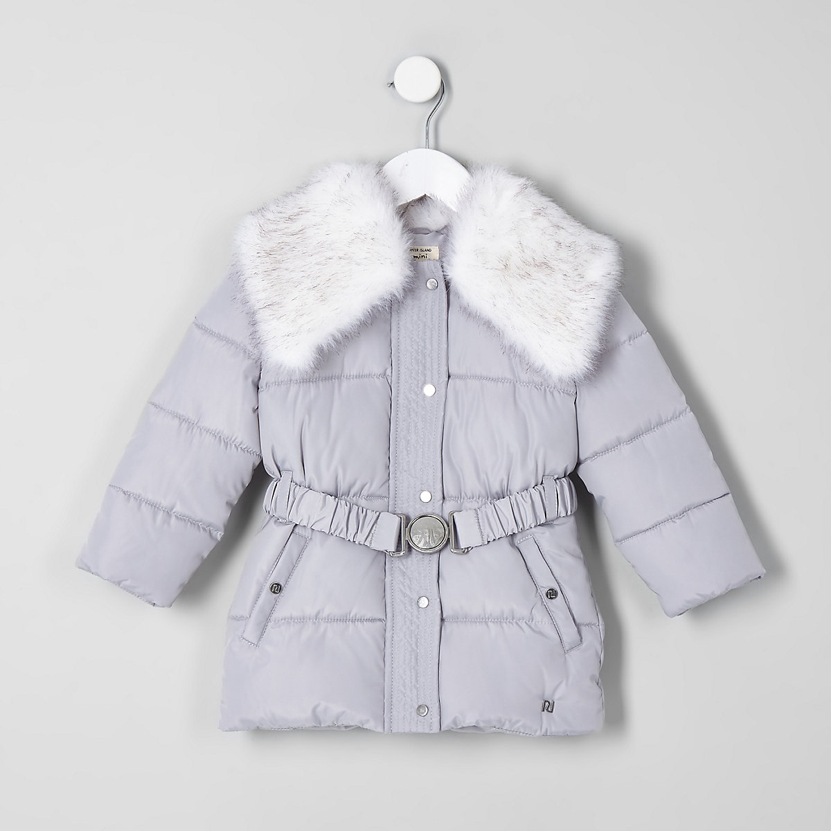 Mini girls grey faux fur collar belted coat